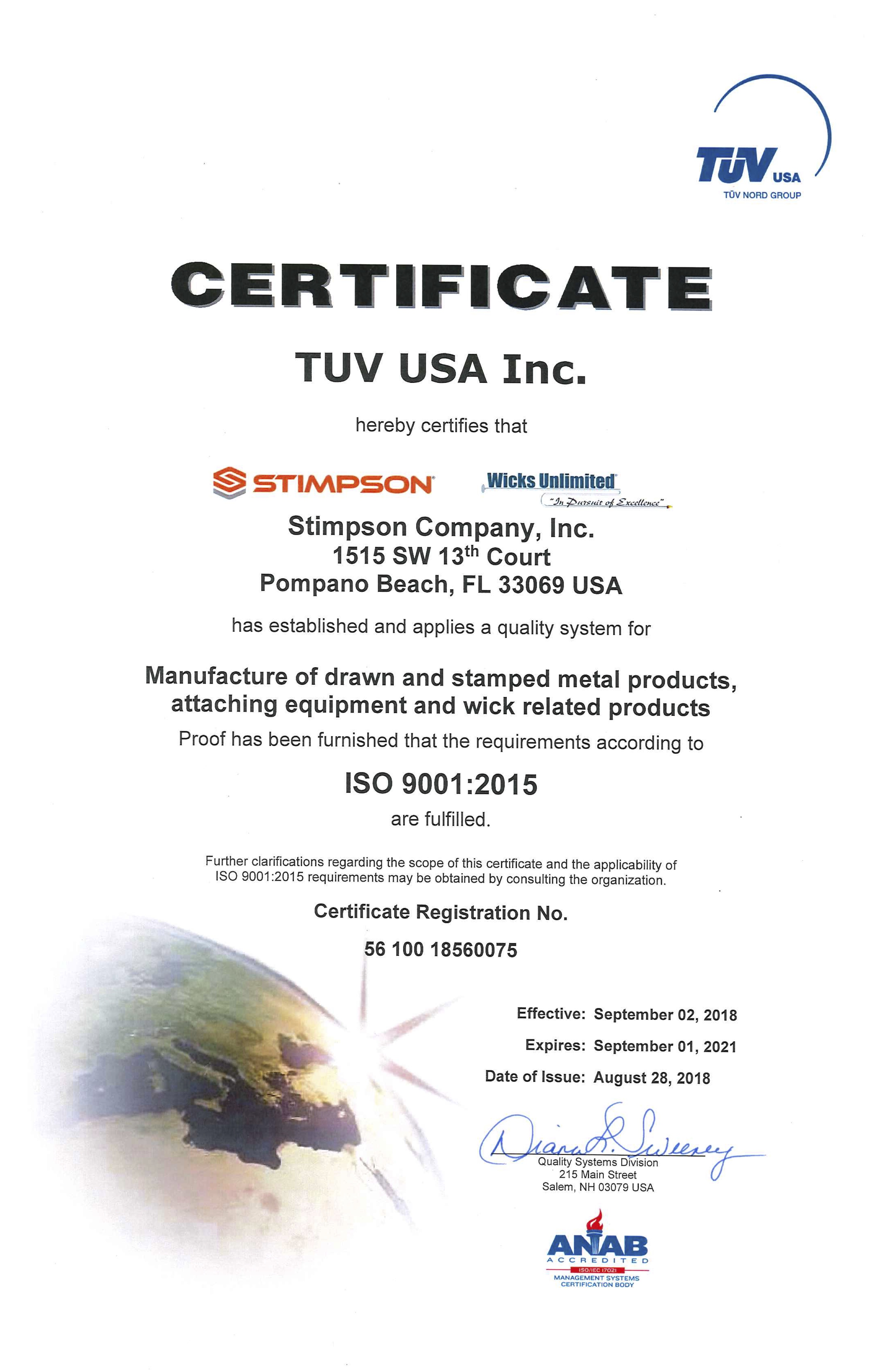 Wicks Unlimited ISO Certification